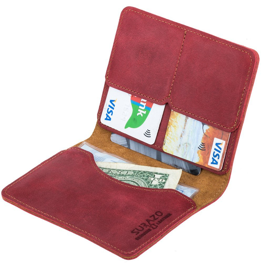 Slim Bifold Wallet RFID - Nubuck Red