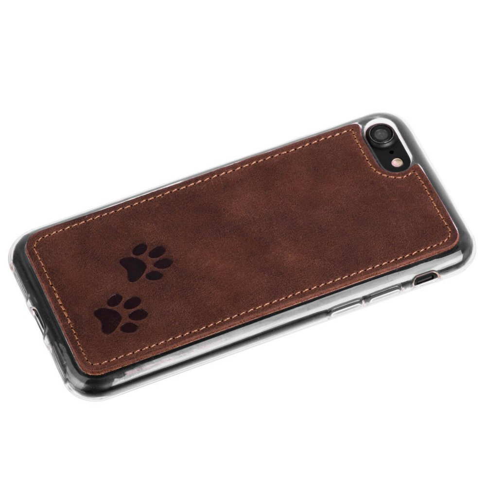 Surazo Back case phone case Nubuck - Nut brown - Two paws