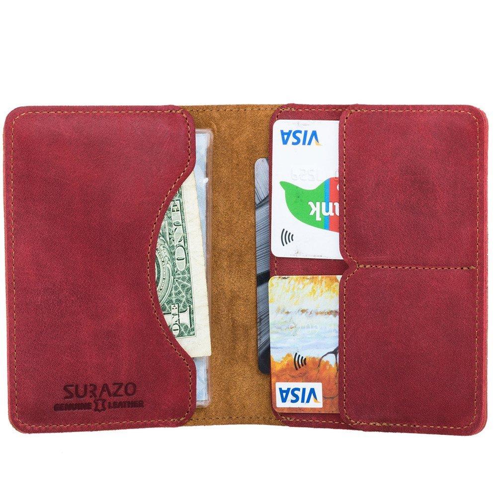 Surazo Bifold Leather Wallet RFID Nubuck - Red