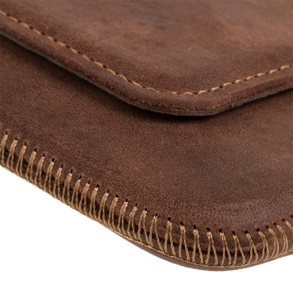 Surazo® Leather Belt Pouch case Nubuck - Nut brown