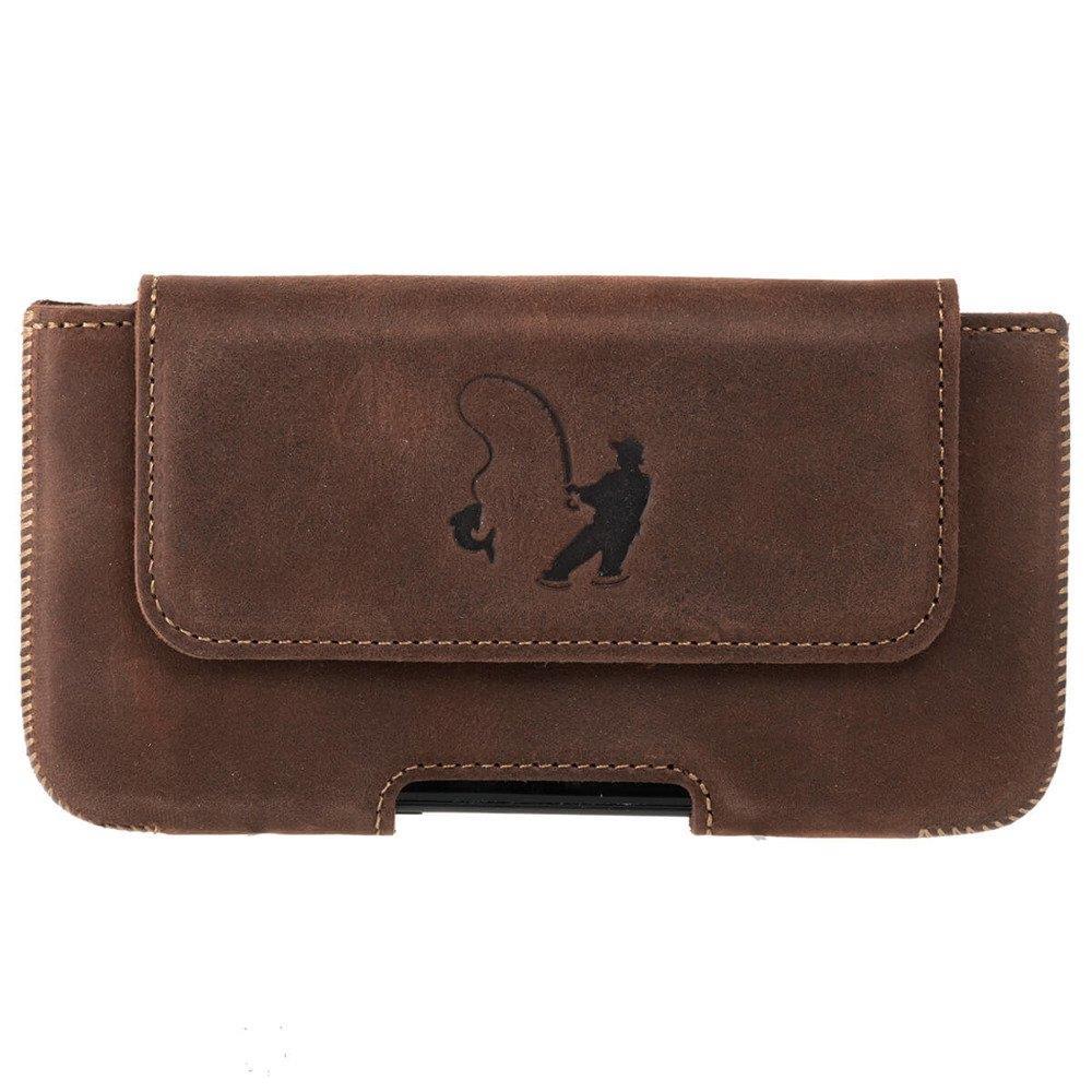 Surazo® Leather Belt Pouch case Nubuck - Nut brown - Fisherman