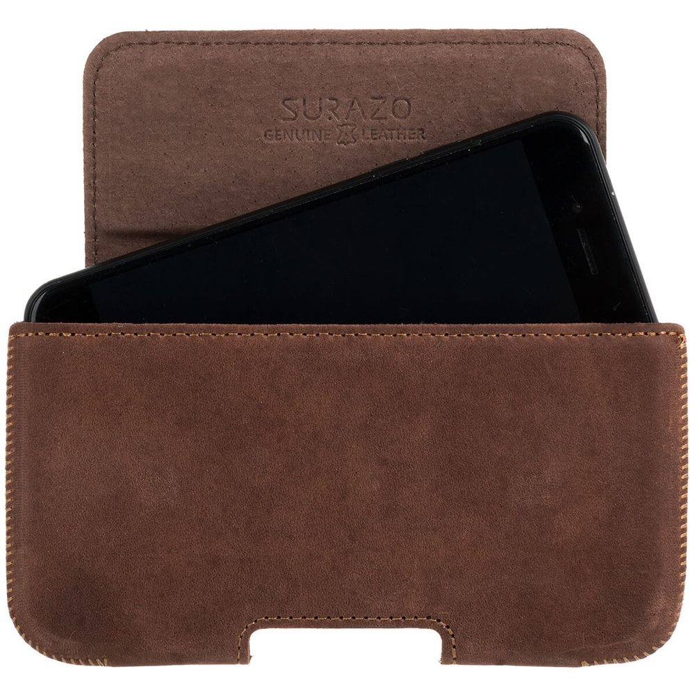 Surazo® Leather Belt Pouch case Nubuck - Nut brown - Paw