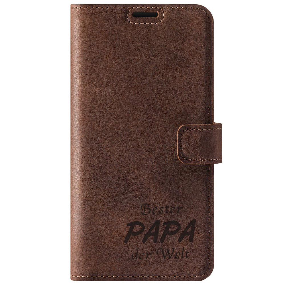 Surazo® Leather Wallet phone case Nubuck - Nut brown - Bester Papa