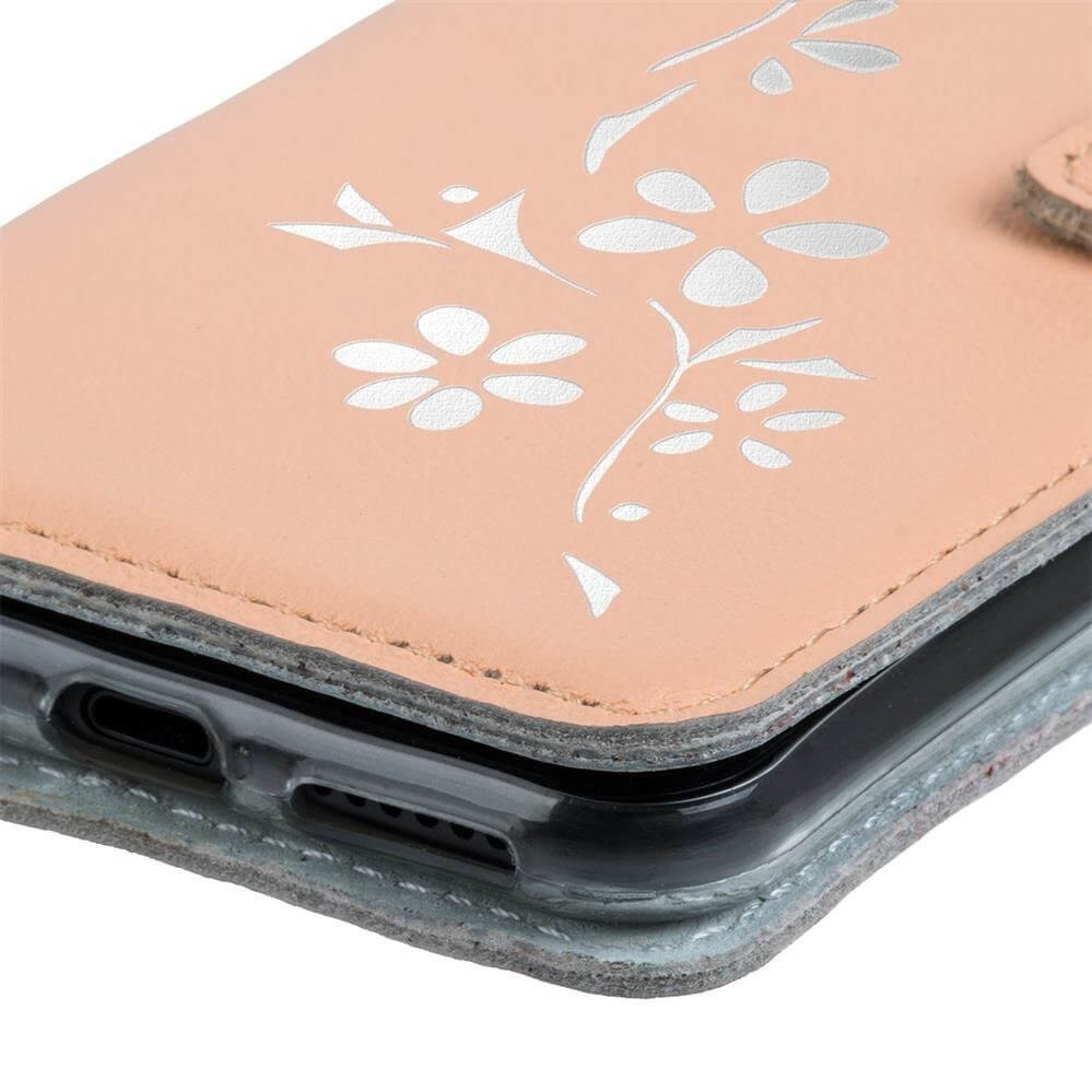 Surazo® Leather Wallet phone case - Pastel Peach - Flowers
