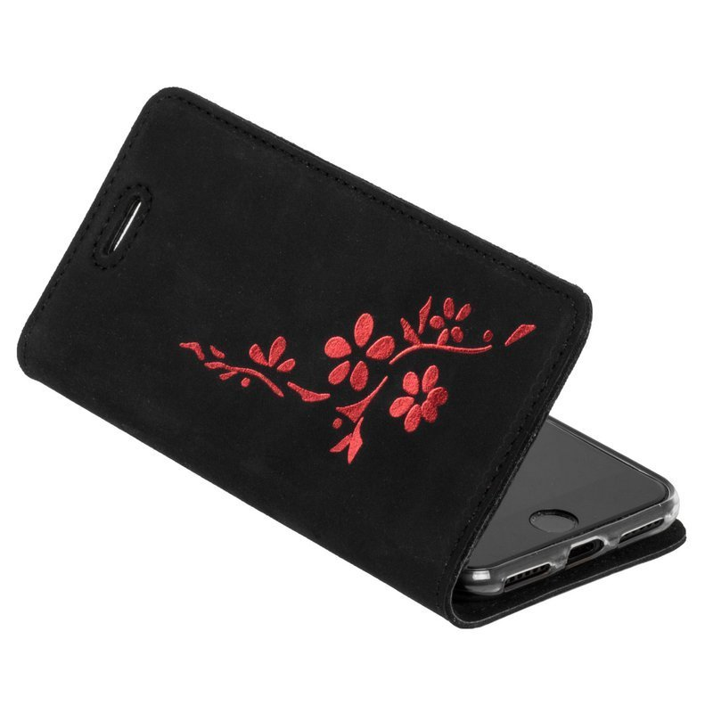 Surazo® Smart Magnet RFID case Nubuck Black - Flowers