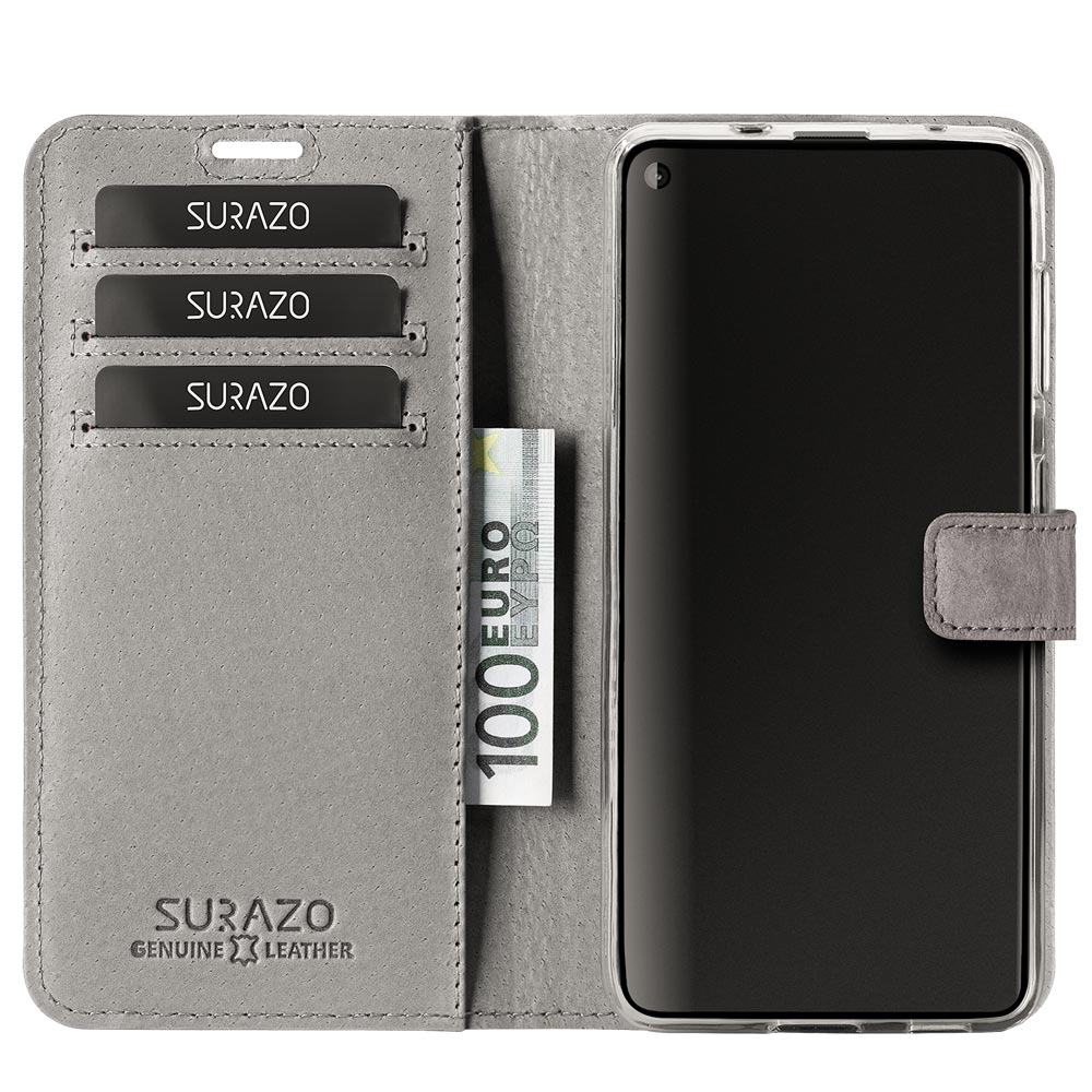 Surazo® Two-tone Wallet phone case - Gray and Navy Blue