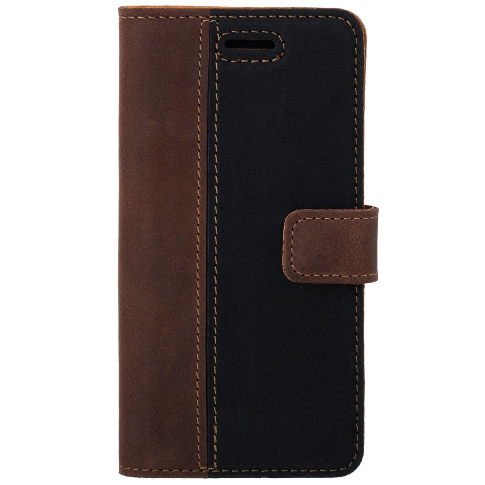 Surazo® Two-tone Wallet phone case - Nut and Black
