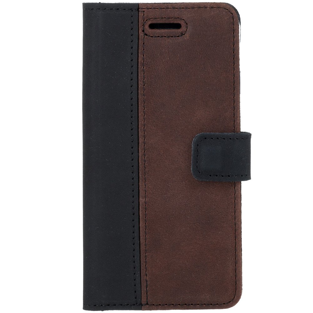 Surazo® Two-tone Wallet phone case - Black and Nut brown