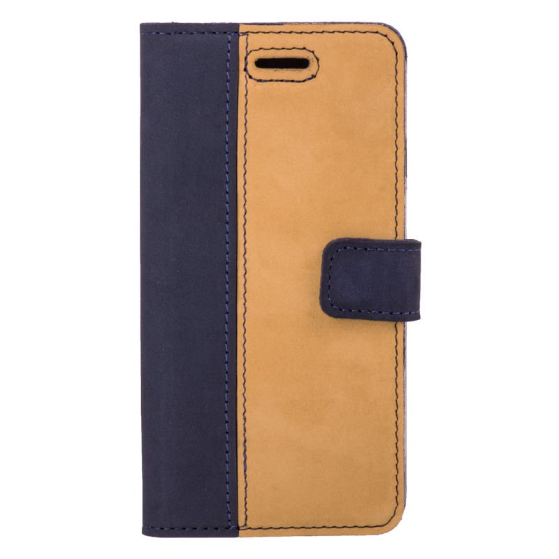 Surazo® Two-tone Wallet phone case - Navy Blue and Camel