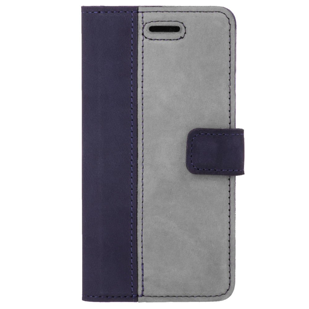 Surazo® Two-tone Wallet phone case - Navy Blue and Gray