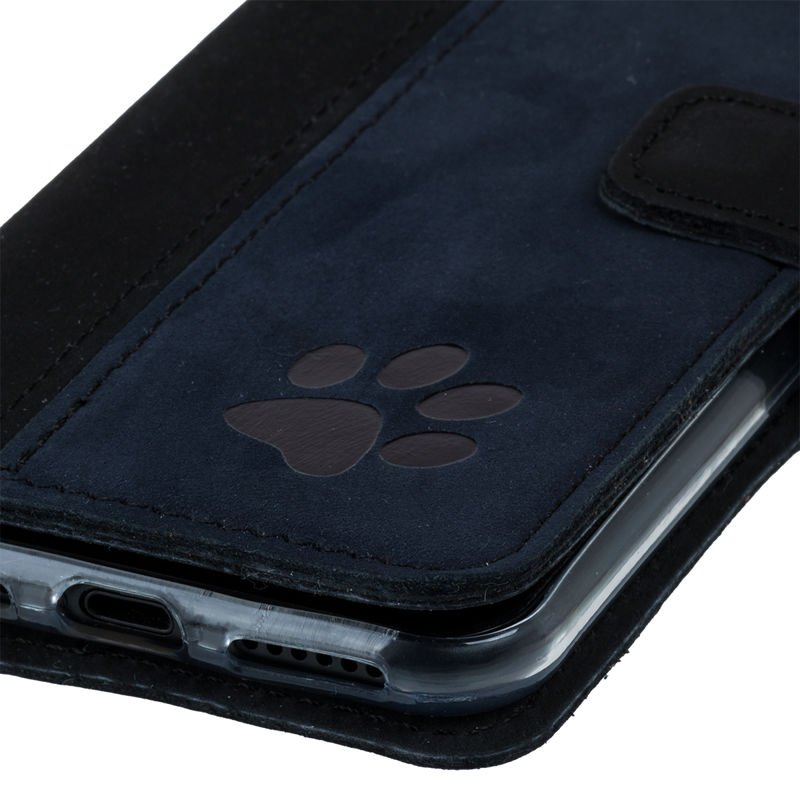 Wallet case - Nubuck Black and Navy blue - Paw
