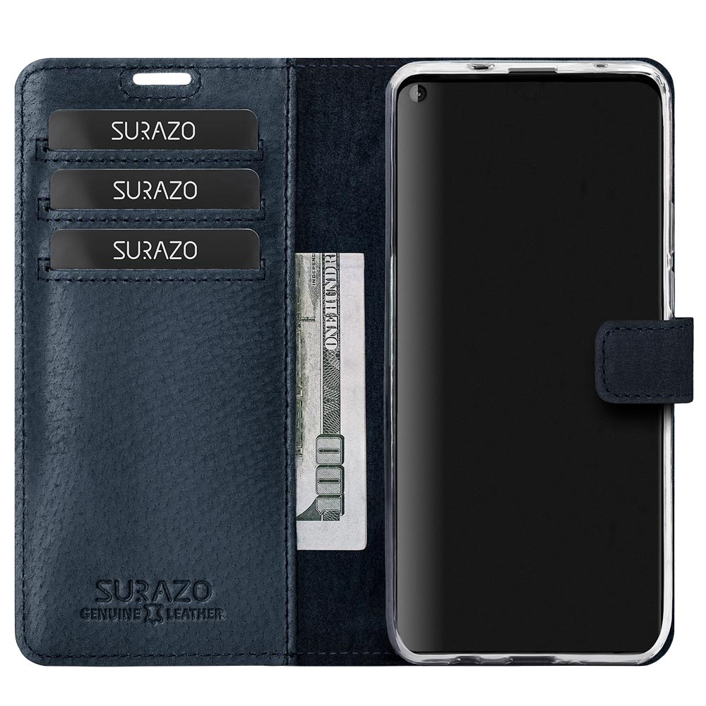 Wallet case - Nubuck Navy Blue and Camel