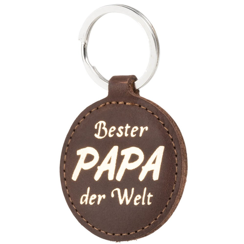 Gürtel Hülle - Nubuk Nussbraun - Bester Papa Gold