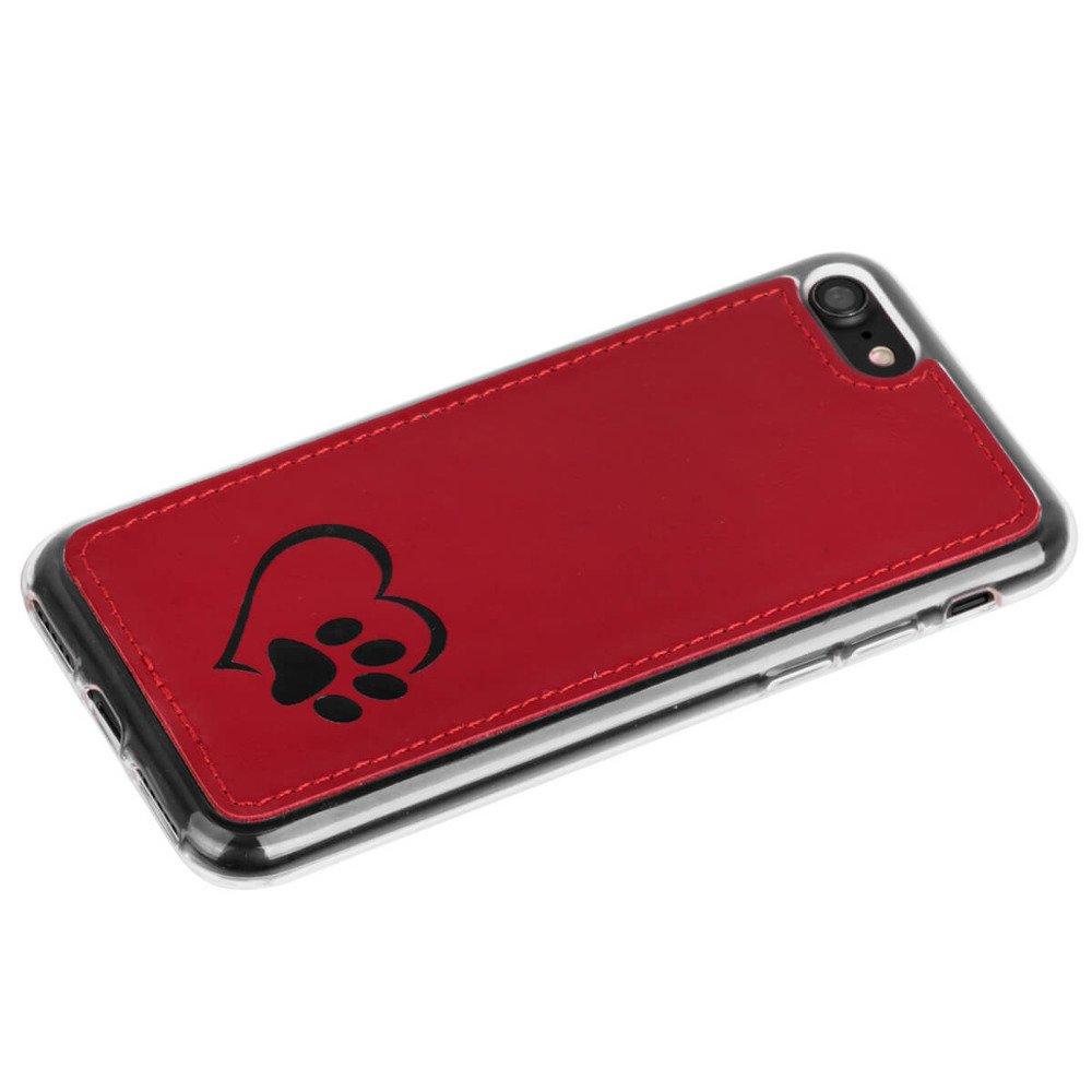 Surazo® Back case Lederhülle Costa - Rot - Herz und pfote
