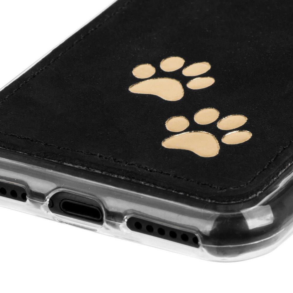 Surazo® Back case Lederhülle Nubuk - Schwarz - Zwei pfoten