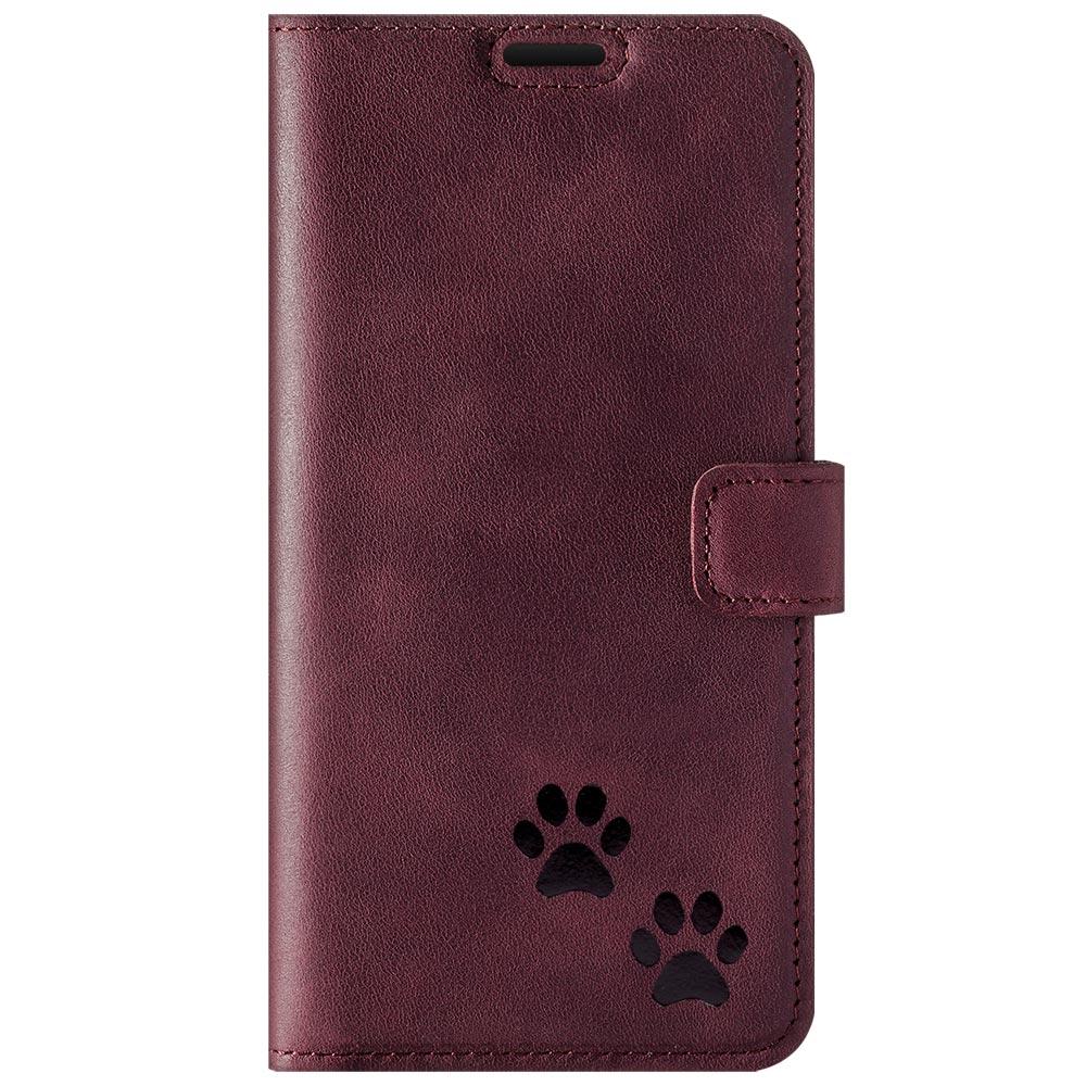 Surazo® Wallet Handy Lederhülle - Nubuck Burgund - Zwei Pfoten Schwarz