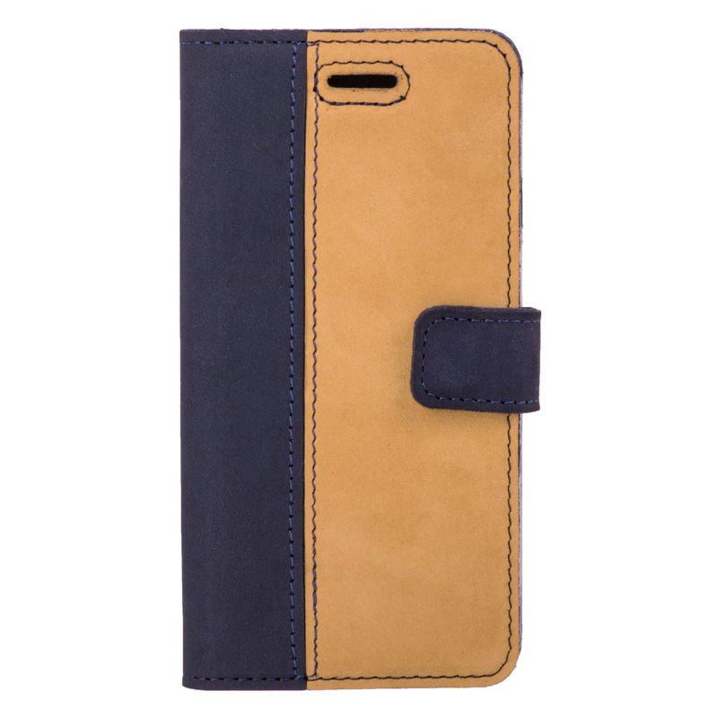 Surazo® Zweifarbige Wallet Lederhülle - Marineblau und Camel