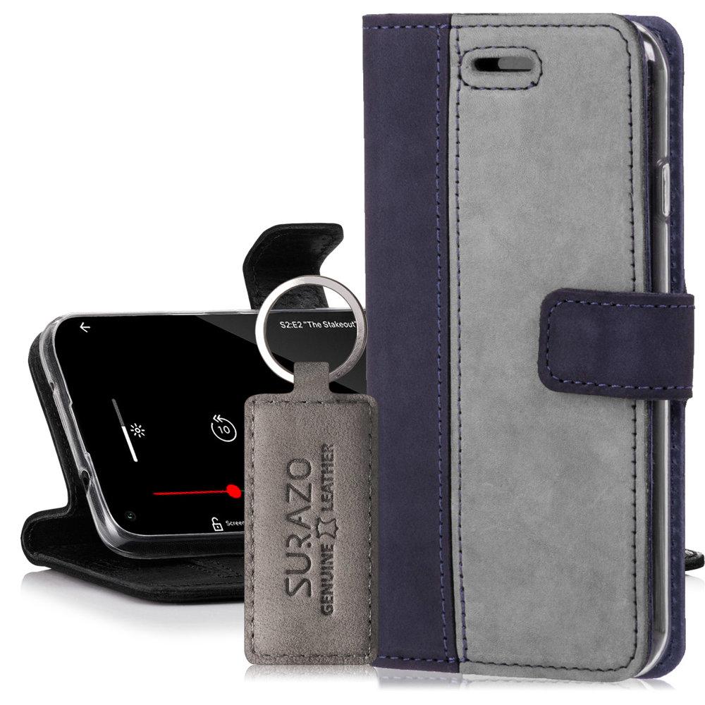 Surazo® Zweifarbige Wallet Lederhülle - Marineblau und Grau