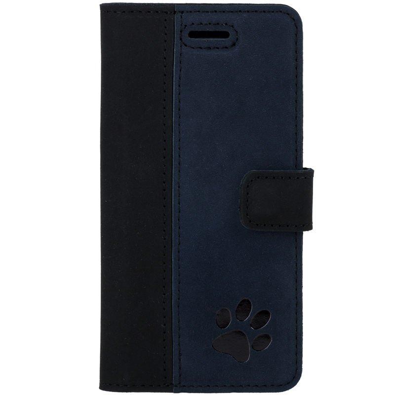 Wallet case - Nubuk Schwarz und Marineblau - Pfote