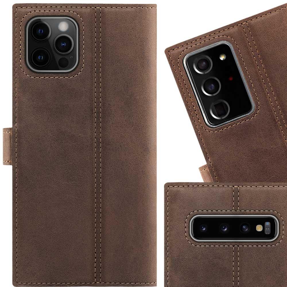 Surazo® Skórzane Etui Wallet case Nubuk - Orzechowy brązowy